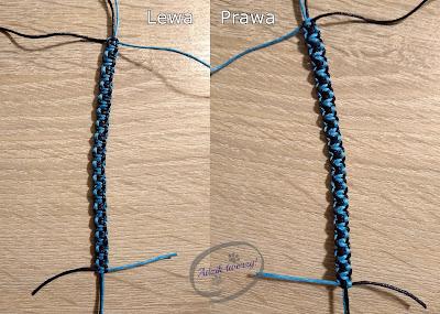Adzik tworzy - bransoletka makrama DIY splot dwukolorowy jak zrobić