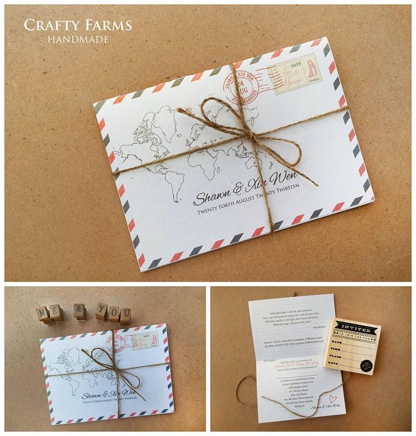 Airmail Postcard Theme Wedding Card Vintage Kad Kahwin