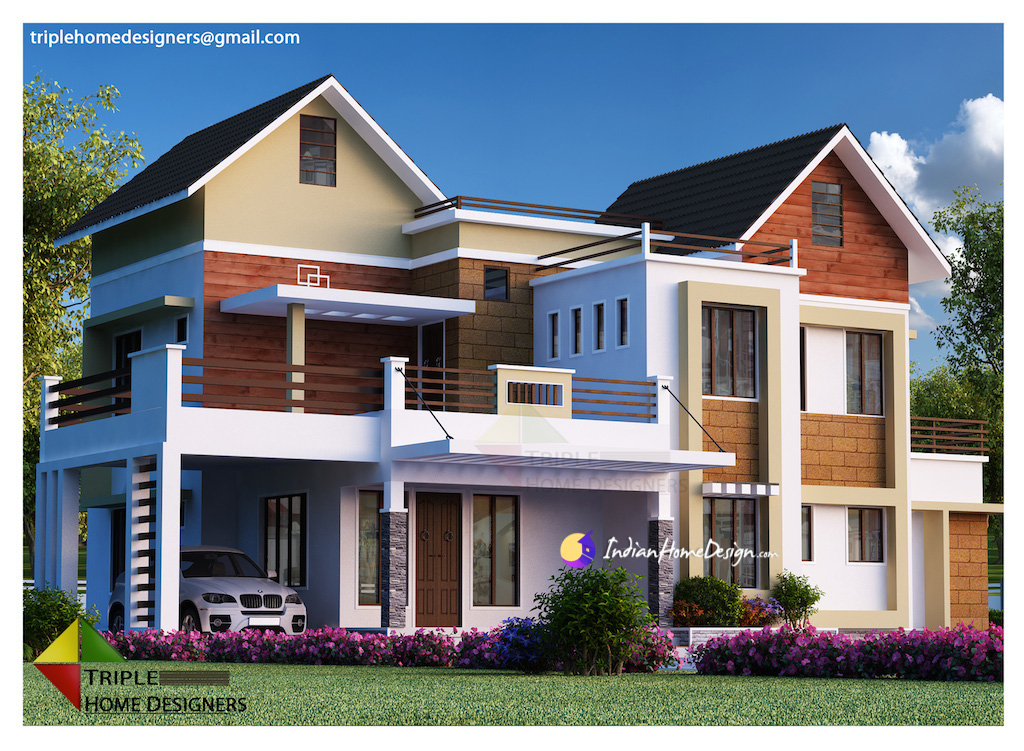 2977 sqft Attractive 4 Bedroom with Courtyard Kerala Home Design by Triple Home Designers