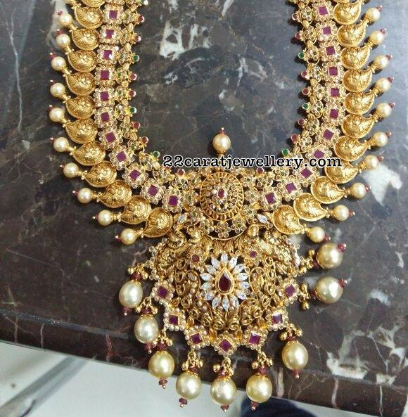 Broad Mango Long Set with Uncut Rubies
