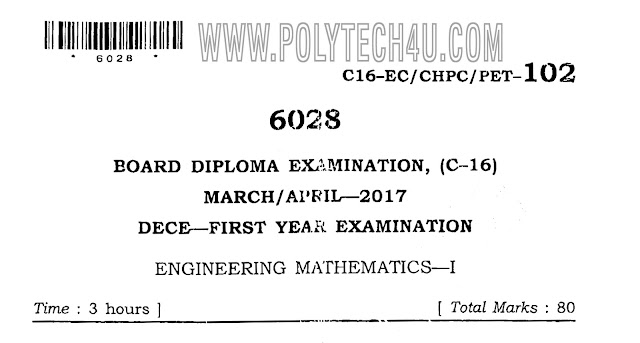 MATHEMATICS-1 DIPLOMA PREVIOUS QUESTION PAPER