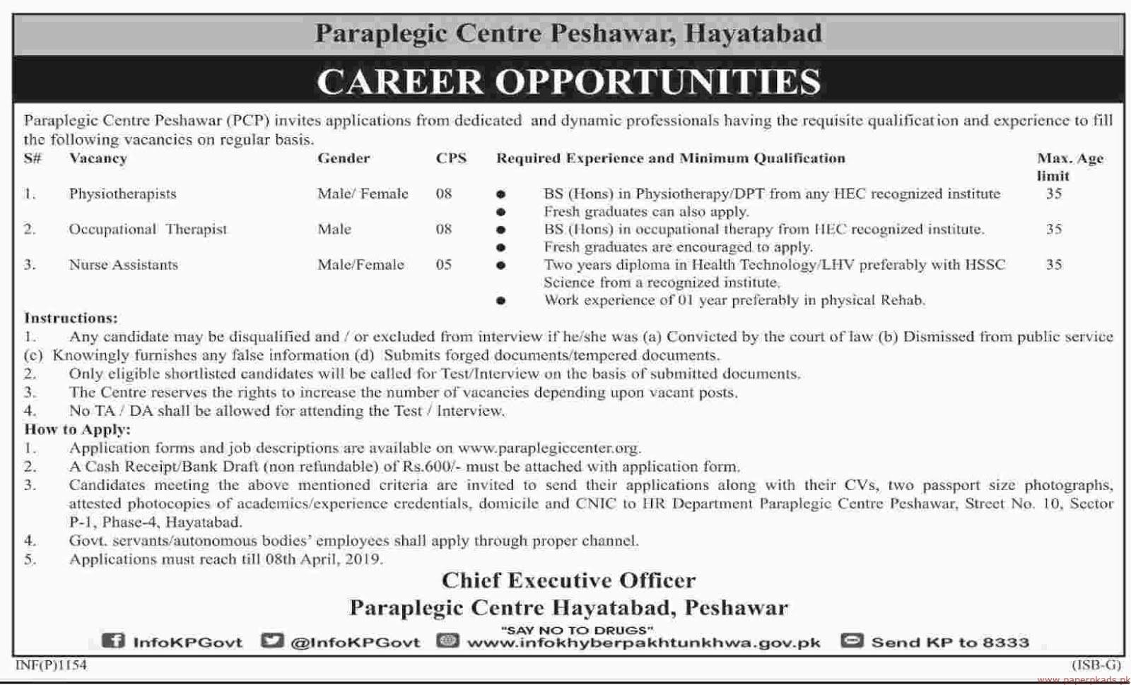 Paraplegic Centre Peshawar Jobs 2019 Latest