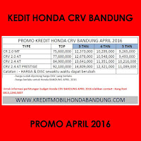 Paket Kredit Honda CRV April 2016, Harga Honda CRV April 2016