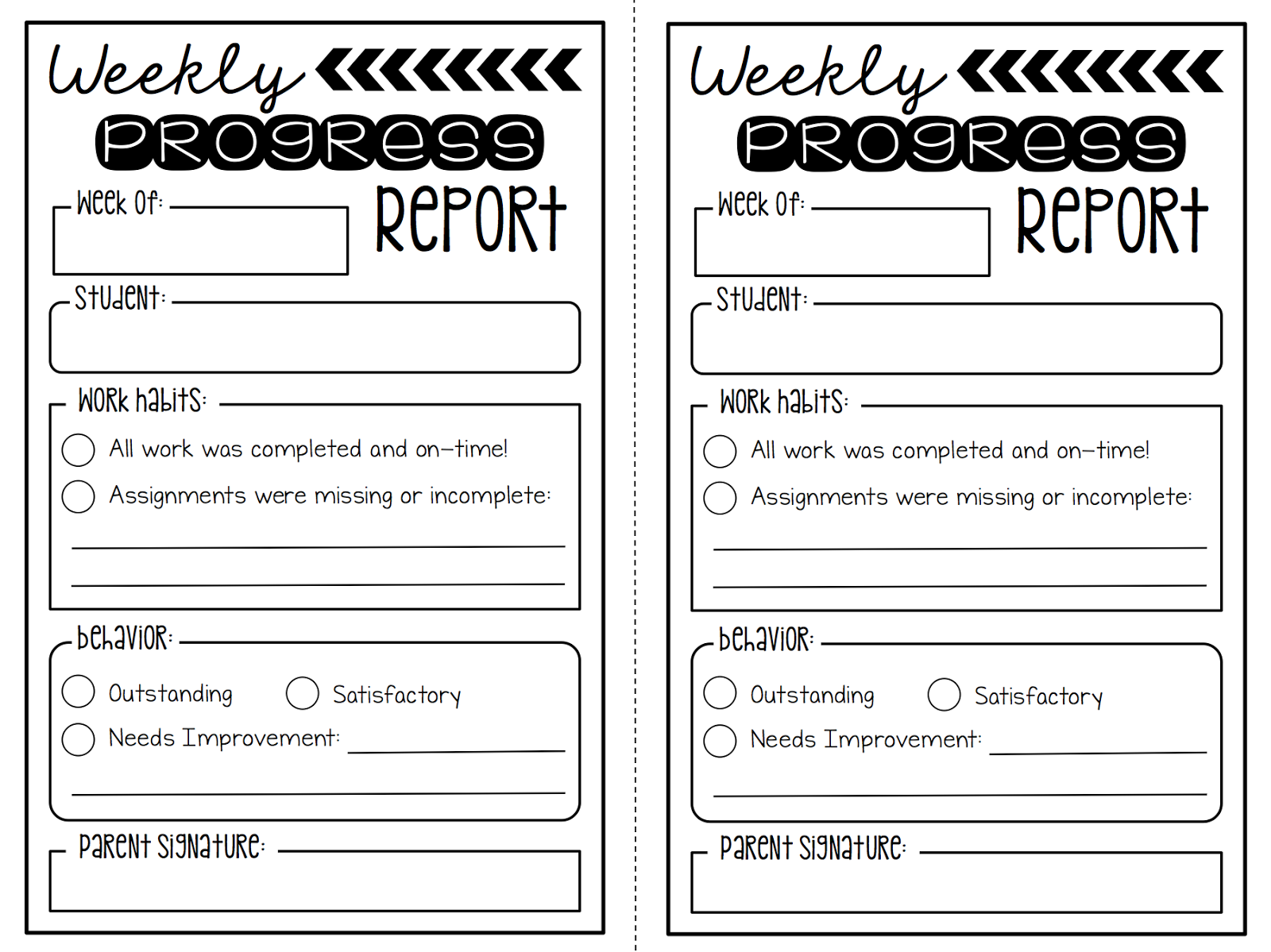 Summertime revamp 2 weekly progress reports freebie for First grade progress report template