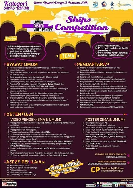 Lomba Poster & Video Pendek Ships Competition 2018