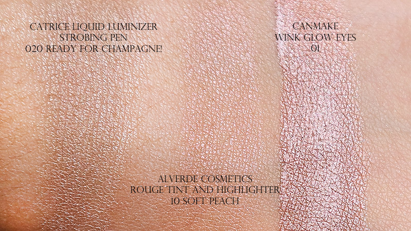 Alverde Rouge Tint and Highlighter, Catrice Strobing Pen and Canmake Wink Glow Eyes Swatch