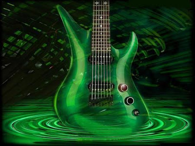 green, guitar. music