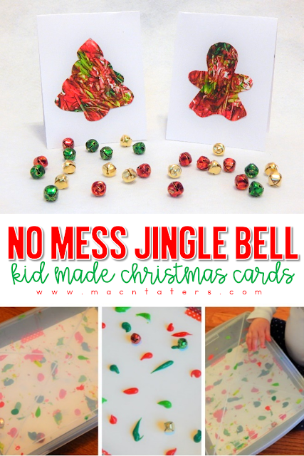 No Mess Jingle Bell Painted Christmas Card Craft for Kids: Christmas activities for babies, toddlers, and preschoolers