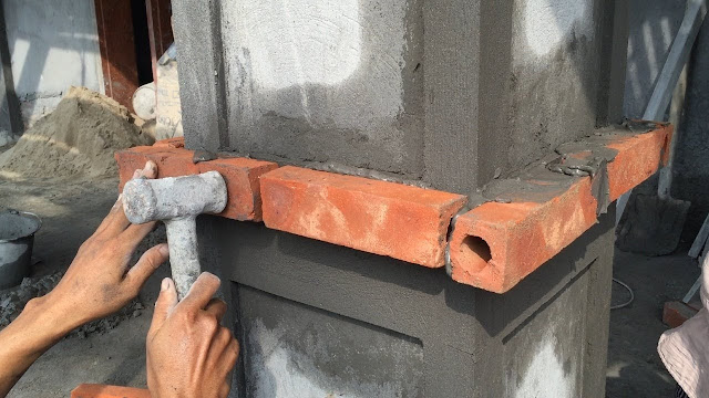 Rendering Sand And Cement In To The Column Foot, Construction Daily