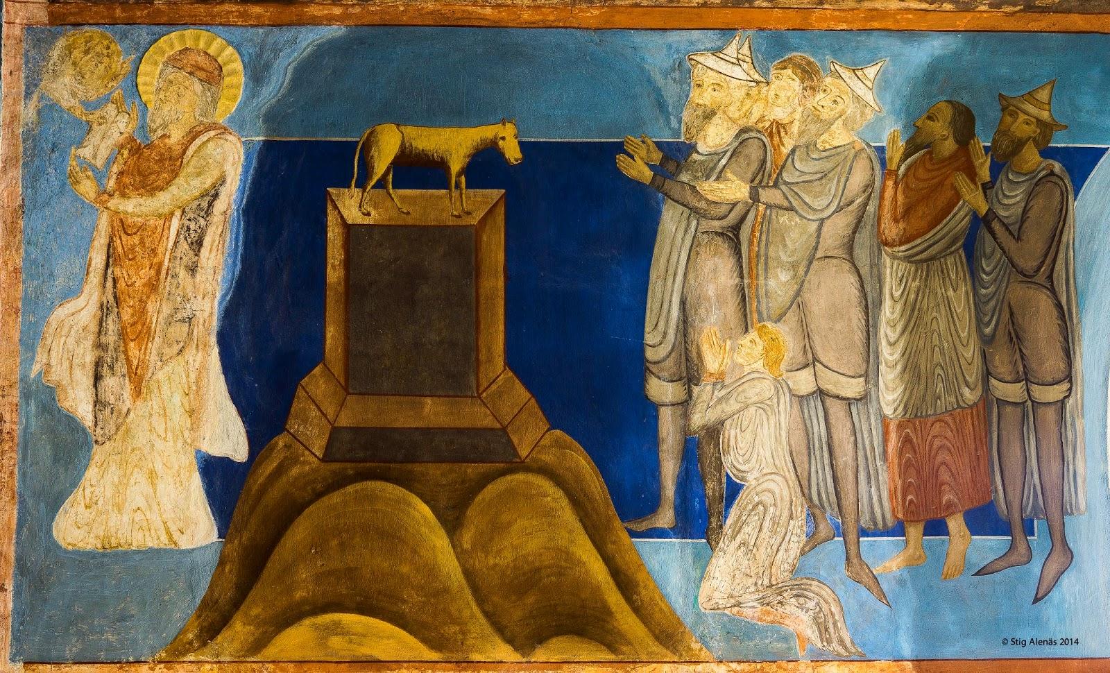 church, stucco, interior, christ, ultramarine, fresco, illustrative, religion, commandments, halo, angel, moses, apostles, sweden, romanescue, bjaresjo