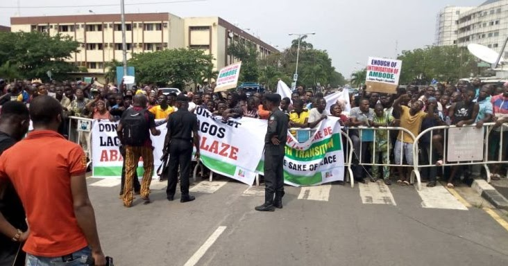 Image result for Ambode's impeachment: Protests rock House of Assembly