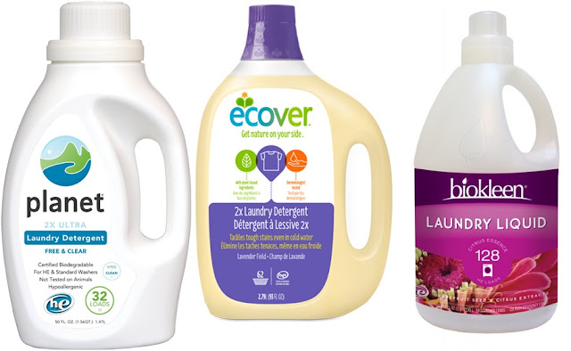 Eco-friendly laundry liquid detergents. Photo courtesy of Planet (via Amazon), Ecover and Biokleen.