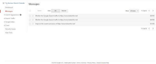 Kelas Informatika - Message Google Webmaster Tools