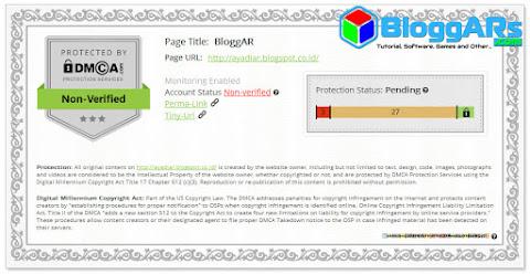 Sertifikat Perlindungan Konten Blog DMCA Status Pending