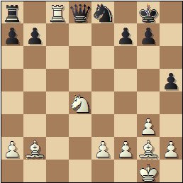 Partida de ajedrez Almirall – Clotas, 1935, posición después de 20…Dxd8