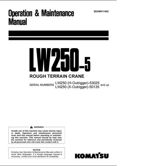 Free Automotive Manuals: KOMATSU LW250-5 OPERATION