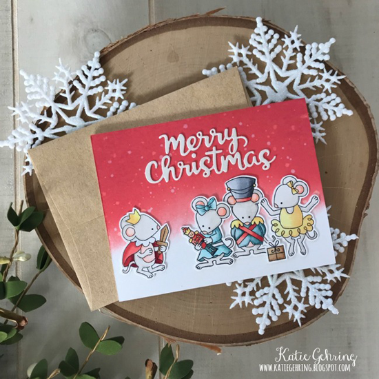 Deck the Halls with Inky Paws Week - Day 3 - Katie Gehring | Christmas Card using the Nutcracker Squeak Stamp Set and Holiday Greetings Die Set by Newton's Nook Designs #newtonsnook #handmade