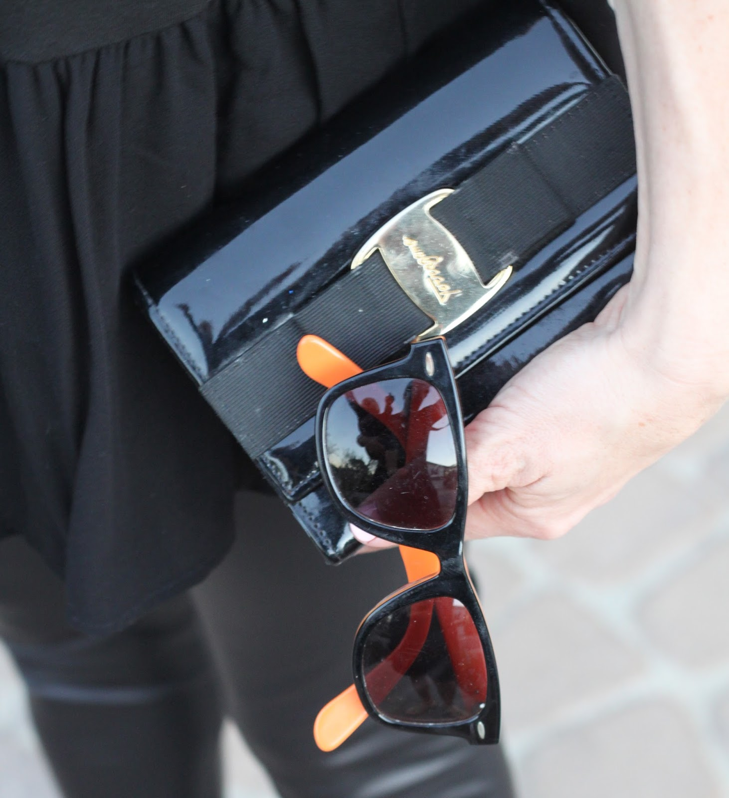 black ferragamo clutch