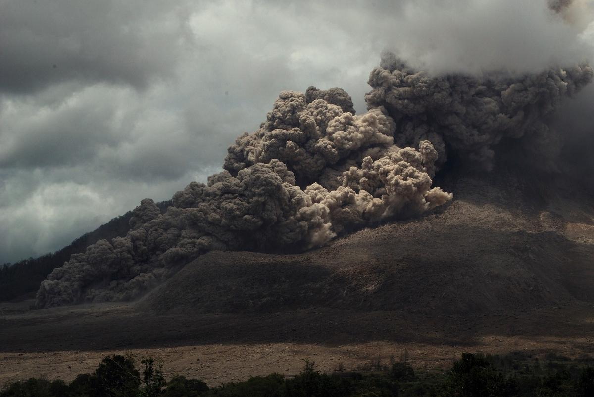 crater of Mount Sinabung volcano eruption october 2014
