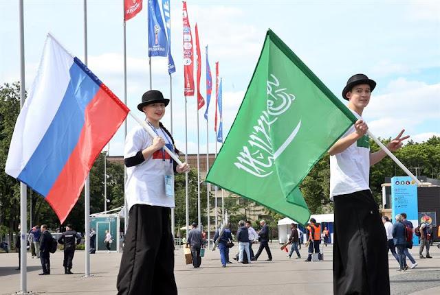 Rússia e Arábia Saudita fizeram o jogo de abertura da Copa do Mundo em Moscou. A festa no lado de fora do Estádio Luzhkini foi bonita - Créditos: EFE/EPA/ABEDIN TAHERKENAREH