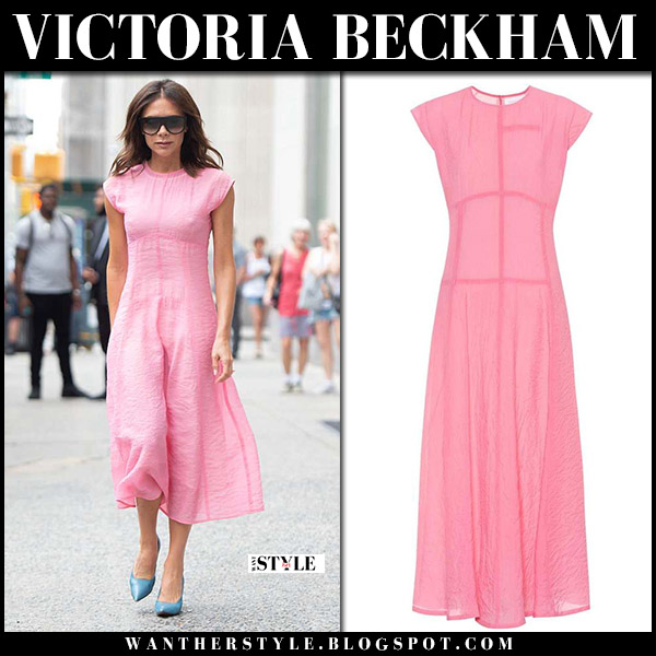 Victoria Beckham in pink midi summer dress summer style june 19