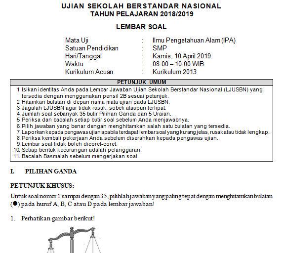 Soal Dan Kunci Jawaban Usbn Ipa Smp Kurikulum 2013 Tahun Pelajaran 2018 2019 Didno76 Com
