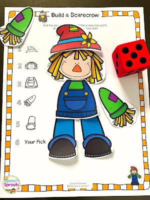 Scarecrow, Scarecrow is just one of the fabulous fall songs and fingerplays for preschool speech therapy in this post. Lisette shares links to the best Youtube videos to teach them, speech and language targets and more autumn speech and language activities like this build a scarecrow game. #speechsprouts #fingerplays #speechandlanguage #preschool #fallpreschoolactivities #spidertheme #scarecrow #nurseryrhymes