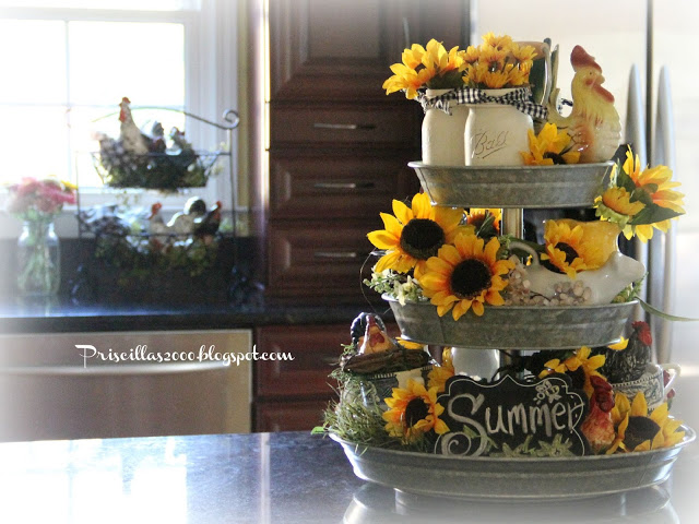 Sunflower Galvanized Tiered tray- Pricilla'sTreasure Hunt Thursday- From My Front Porch To Yours