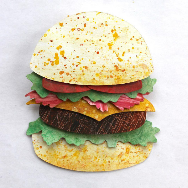 Layered Paper Art Burger with Fixings