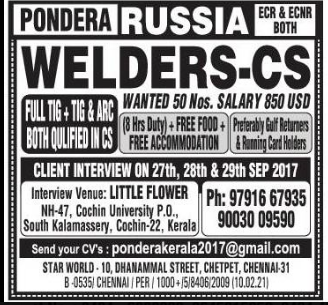 Pondera Russia JObs - Free food & Free Accommodation - AMERICAN