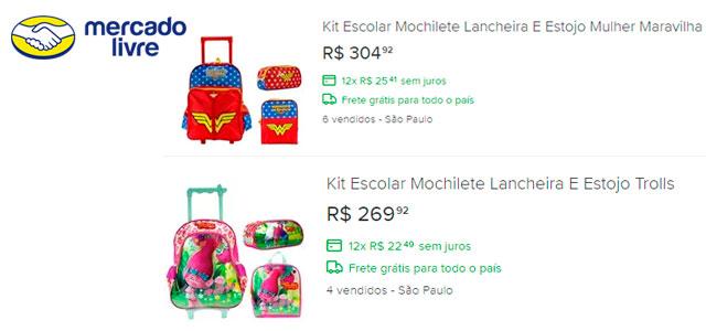 mochilas infantis mercado livre
