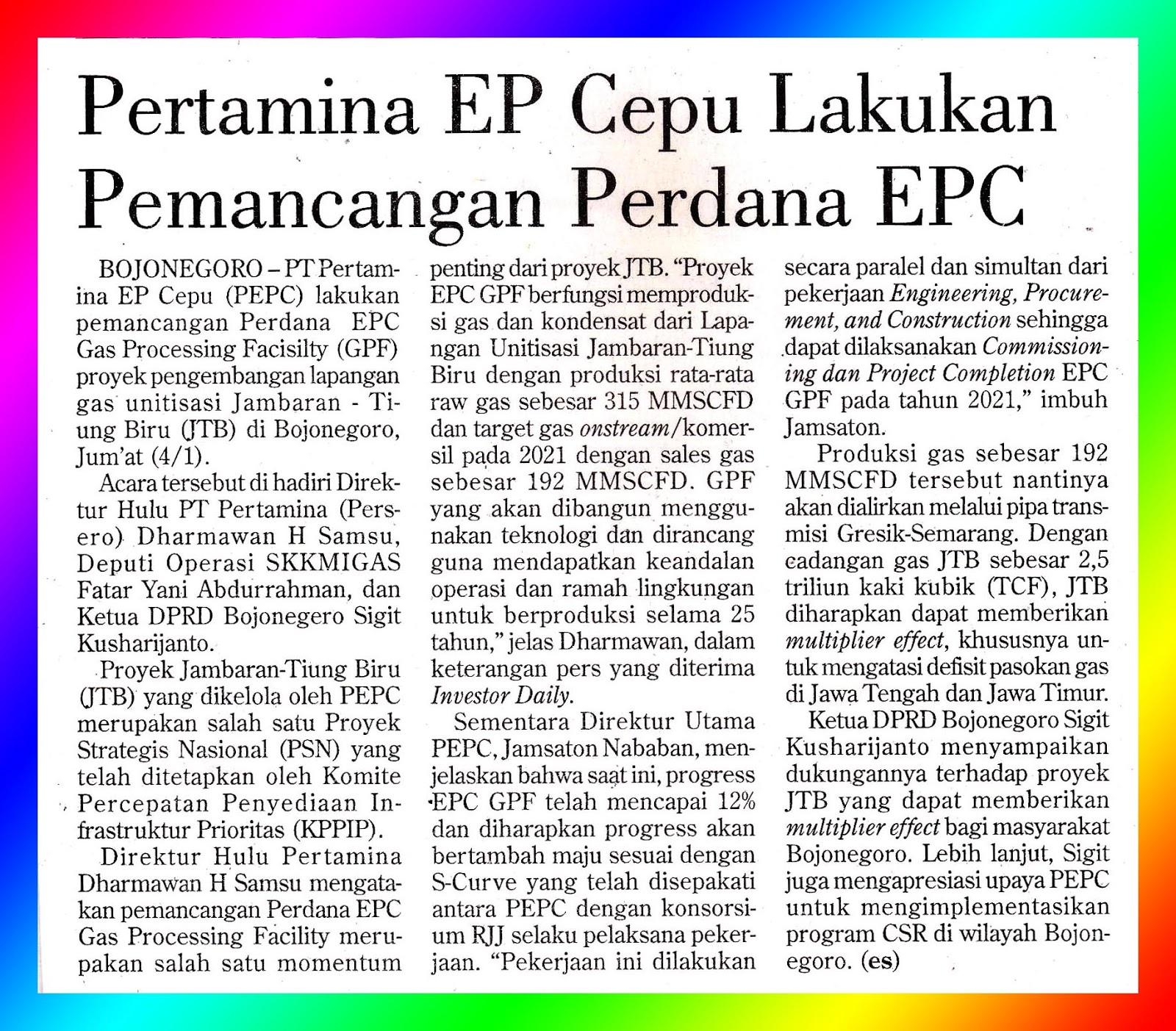Pertamina EP Cepu Performs EPC I Prime Placement - MEDIA MONITORING