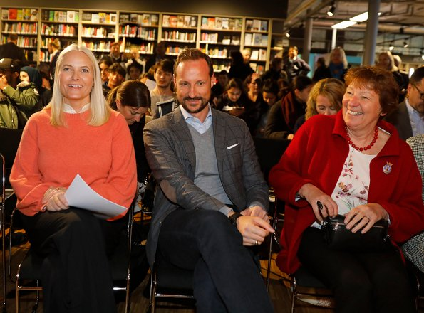 Crown Princess Mette-Marit attended an event with authors Erlend Loe and Janne Stigen Drangsholt at Tøyen Library