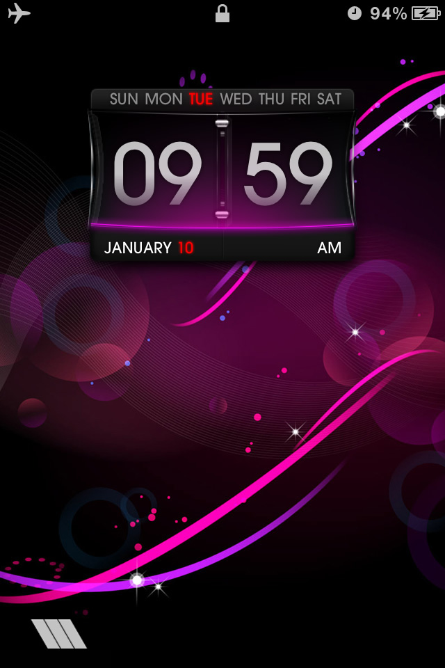 HD lockscreen theme: LS Purple for iPhone 4 Free Download