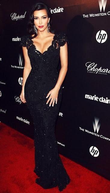 Vestido festa longo preto com brilho da Kim Kardashian