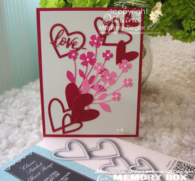 bouquet of flowers and hearts for Valentines day card