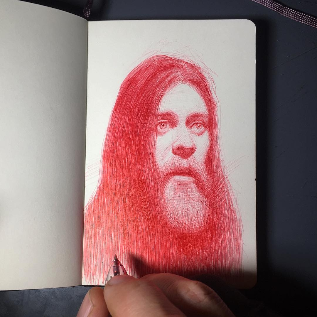 12-Jesus-The-walking-dead-Arthur-Gains-Moleskine-Sketches-of-Celebrities-and-other-Portraits-www-designstack-co