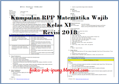 RPP Matematika Wajib Kelas XI Limit Fungsi Aljabar K13 Revisi 2018