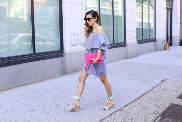 shein off shoulder ruffle dress, off shoulder ruffle dress, chanel necklace, sole society wedge sandals, gigi new york clutch, quay sunglasses, spring style, nyc street style