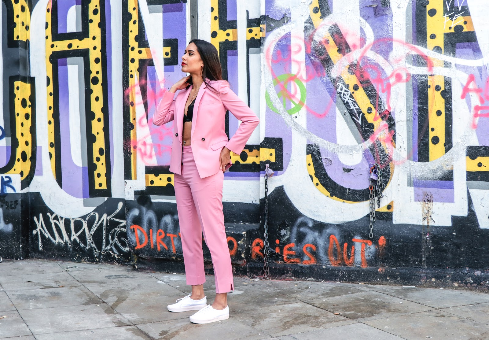 Pink Topshop suit worn by fashion blogger Reena Rai