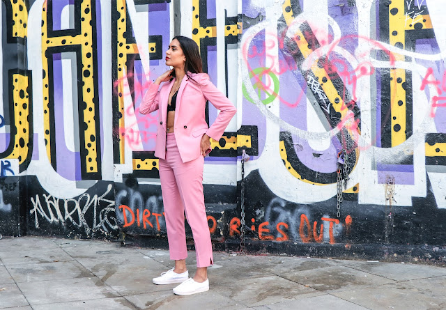 Pink Topshop suit worn by fashion blogger Reena Rai