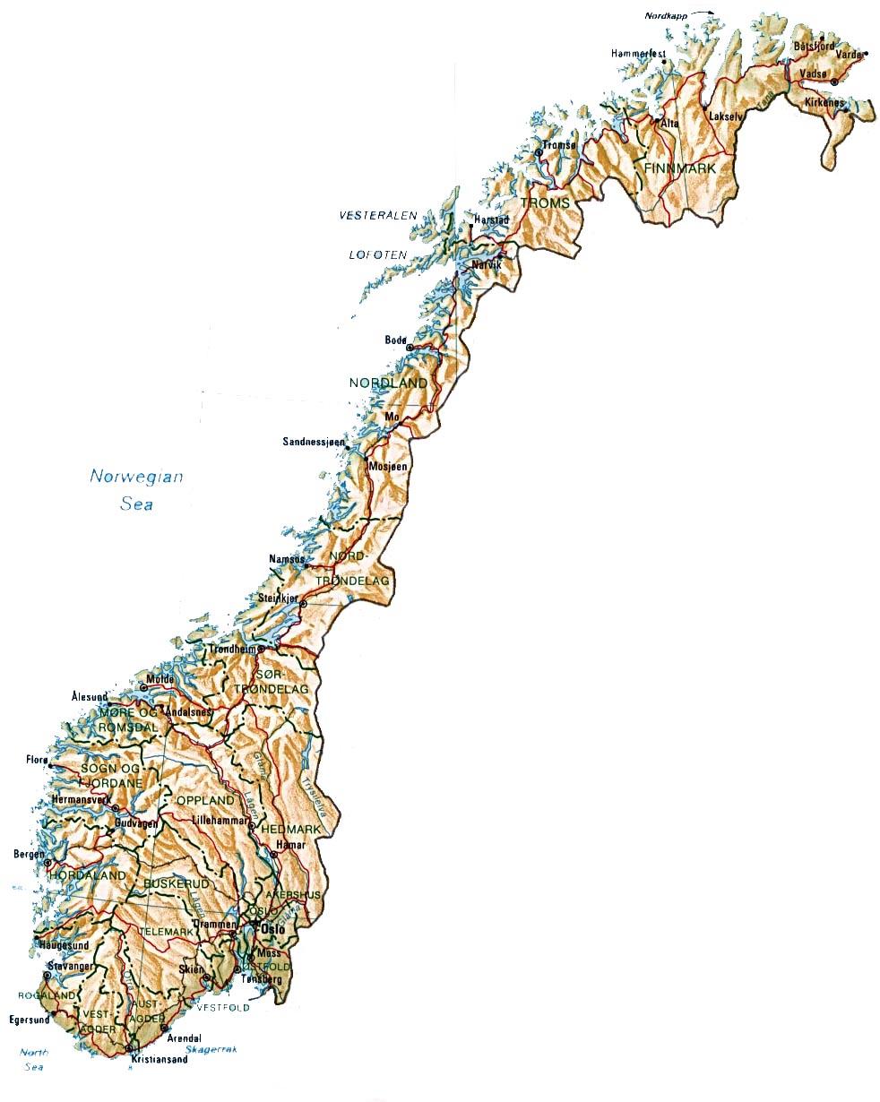 detaljert kart norge februar 2012 | Kart over Norge By Regional Provinsen detaljert kart norge