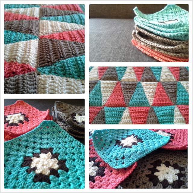 gehäkeltes Triangelkissen, crochet triangle pillow, granny squares, crochet cussion, work in progress