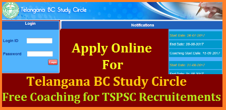 TS/Telangana BC Study Circle Free Coaching for TSTSC Forest Beat Officers FBOs FSOs FROs Recruitment in Telangana Register Online | Eligibility Criteria for TS BC Study Circle Free Coaching Telangana BC Welfare Dept BC Study Circle giving Free Coaching for the Candidates going attempt for Telangana Public Service Commission Recruitment Notifications Forest Beat Officers Forest Section Officers Forest Range Officers. They Have to Register Online at studycircle.cgg.gov.in/tsbcw/. Its Free Coaching for BC Candidates at Various Centres at District Headquarters with limited seats available. Onlne Application important dates Selection List Required documents and for many more things please go through this article ts-telangana-bc-study-circle-free-coaching-civil-tspsc-vro-vra-trt-dsc-recruitments