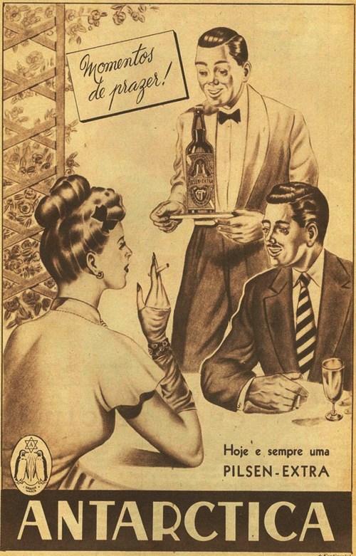 Propaganda da Cerveja Antarctica em 1946 feito em desenho