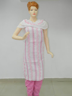 Lucknowi Chikan Pink Cotton Dress Material