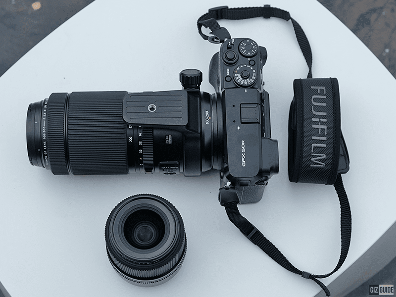 The GF 100-200 attached to the GFX 50R