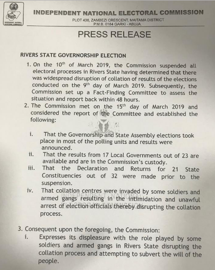 INEC Releases Reports On Rivers & Bauchi Elections