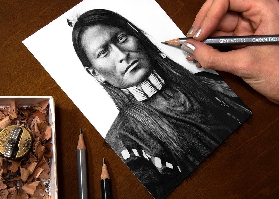 13-Red-Armed-Panther-Red-Sleeve-a-Cheyenne-Scout-Heather-Rooney-Photorealistic-Colored-Pencil-Drawing-Portraits-www-designstack-co
