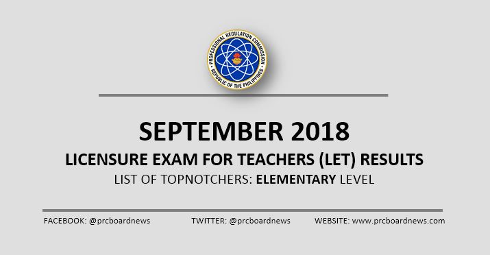 PRC RESULTS: Top 10 September 2018 LET Elementary Teachers board exam